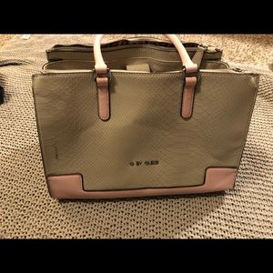 G by Guess pink + grey snakeskin tote
